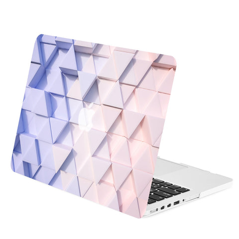 TOP CASE - Gradient Geometric 3D Triangular Graphics Rubberized Hard Case for Macbook Retina 15""