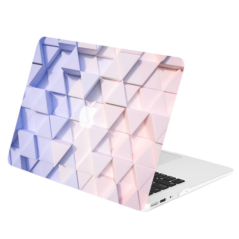 TOP CASE - Gradient Geometric 3D Triangular Rubberized Hard Case Cover for MacBook Air 13""