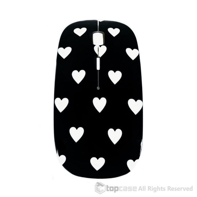 Heart-Shaped Design Black USB Optical Wireless Mouse for Macbook (pro , air) and All Laptop