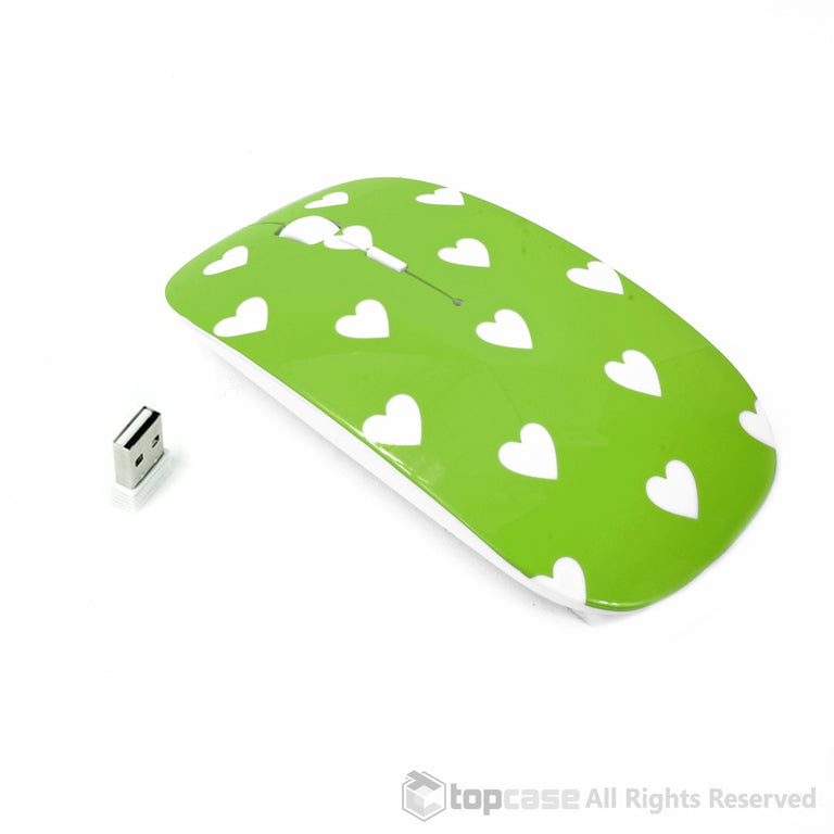 Heart-Shaped Design Green USB Optical Wireless Mouse for Macbook (pro , air) and All Laptop - TOP CASE