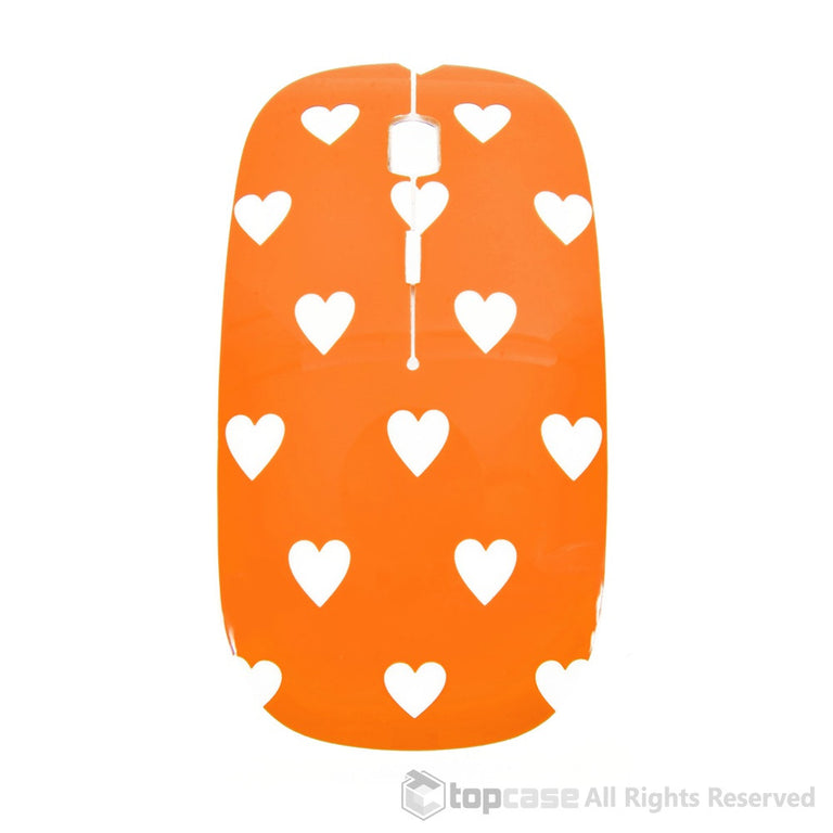Heart-Shaped Design Orange USB Optical Wireless Mouse for Macbook (pro , air) and All Laptop - TOP CASE