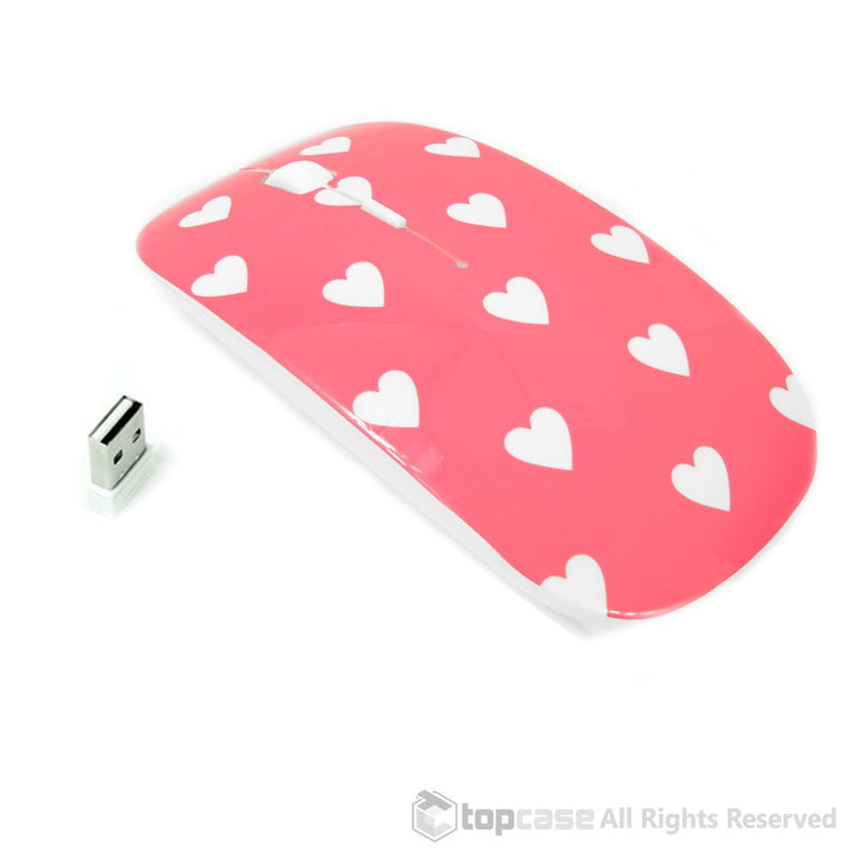 Heart-Shaped Design Pink USB Optical Wireless Mouse for Macbook (pro , air) and All Laptop - TOP CASE