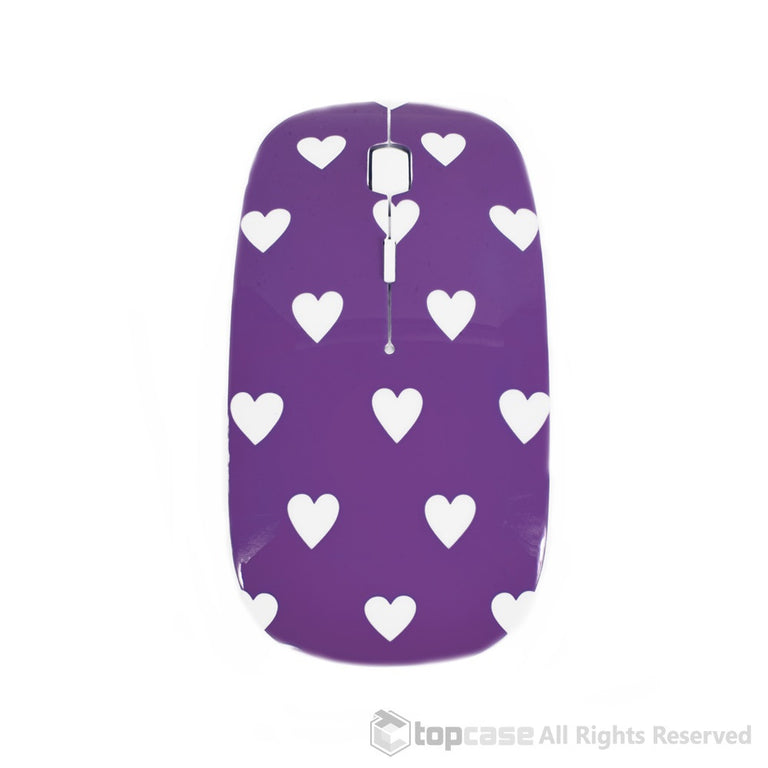 Heart-Shaped Design Purple USB Optical Wireless Mouse for Macbook (pro , air) and All Laptop