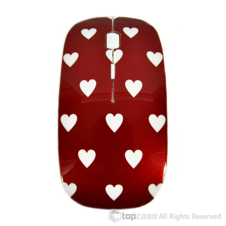Heart-Shaped Design Red USB Optical Wireless Mouse for Macbook (pro , air) and All Laptop - TOP CASE