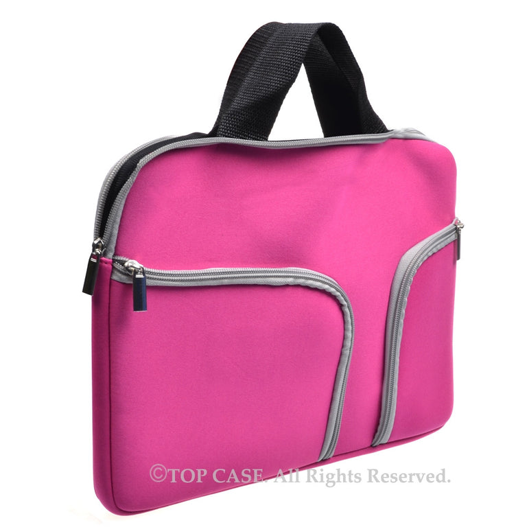 "Zipper Hot Pink Sleeve Bag Cover with Handle and Pockets / Compartments for Macbook 12"" 12-Inch Model: A1534 Retina Noteboook"