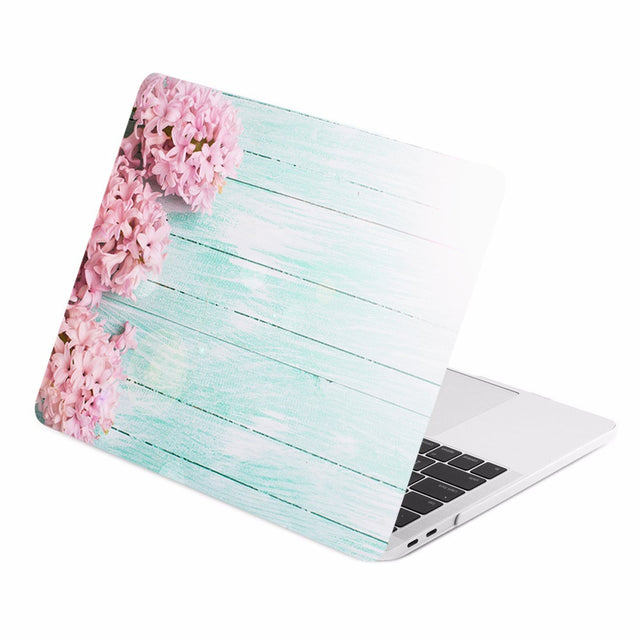 TOP CASE - Floral Pattern Graphics Rubberized Hard Case Cover for MacBook Pro 15-inch A1707 / A1990 with Touch Bar( Release 2016/17/18 ) - Pink Hyacinth