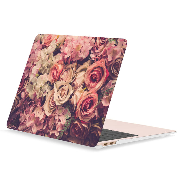 TOP CASE - Floral Pattern Rubberized Hard Case Cover Compatible with 2018 Release MacBook Air 13 Inch with Retina Display fits Touch ID Model: A1932 - Lavish Floral