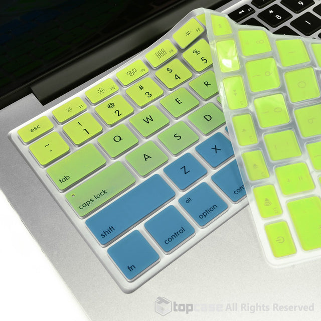 "TOP CASE Faded Ombre Series Green & Blue Silicone Keyboard Cover Skin for All Macbook 13"" 15"" 17"""