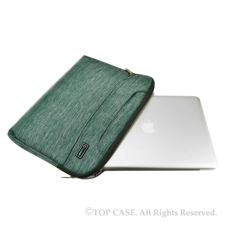 Green Nylon Lycra Fabric Carrying Sleeve Bag Briefcase for all 15-Inch Laptops/Chromebooks/Ultrabooks/Apple Macbooks