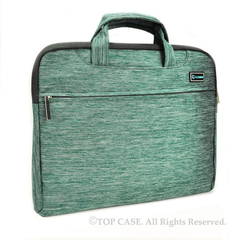 Green Nylon Lycra Fabric Carrying Sleeve Bag Briefcase for all 15-Inch Laptops/Chromebooks/Ultrabooks/Apple Macbooks - TOP CASE