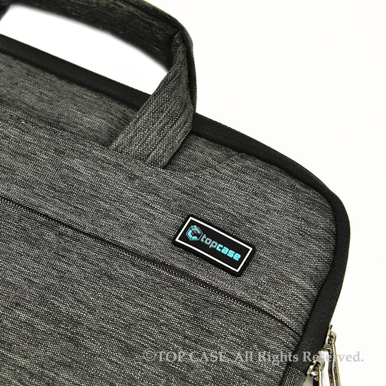 Gray Nylon Lycra Fabric Carrying Sleeve Bag Briefcase for all 15-Inch Laptops/Chromebooks/Ultrabooks/Apple Macbooks - TOP CASE