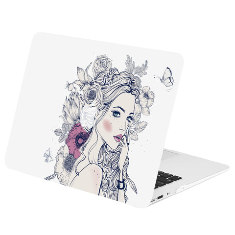 "TOP CASE - Vector Pattern Rubberized Hard Case Cover for MacBook Air 13"" - Dreaming Girl"