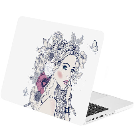 "TOP CASE - Vector Pattern Rubberized Hard Case Cover for Macbook Retina 15"" - Dreaming Girl"