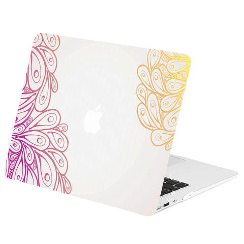 "TOP CASE - Vector Pattern Rubberized Hard Case Cover for MacBook Air 13"" - Peacock Gradient Feathers"