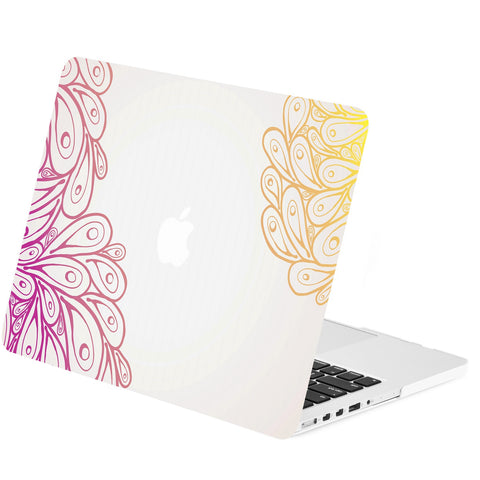 "TOP CASE - Vector Pattern Matte Hard Case Cover for Macbook Retina 15"" - Peacock Gradient Feathers"