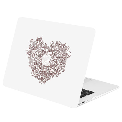 "TOP CASE - Vector Pattern Rubberized Hard Case Cover for MacBook Air 13"" - Floral Heart"