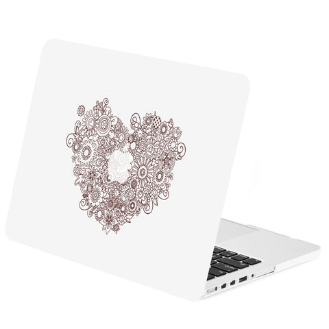 "TOP CASE - Vector Pattern Rubberized Hard Case Cover for Macbook Retina 15"" - Floral Heart"