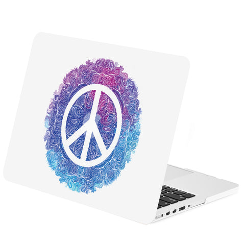 "TOP CASE - Vector Pattern Rubberized Hard Case Cover for Macbook Retina 15"" - Peace Symbol"