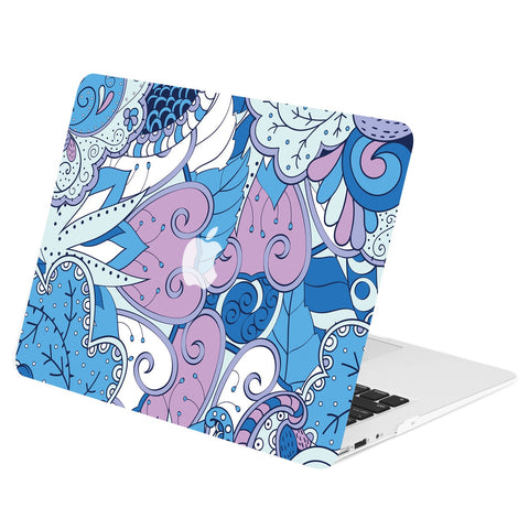 "TOP CASE - Vector Pattern Rubberized Hard Case Cover for MacBook Air 13"" - Peacock Mix Blue"