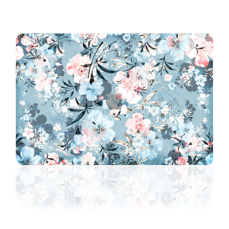 TOP CASE - Floral Pattern Victorian Series Rubberized Hard Case Cover Compatible with 2018 Release MacBook Air 13 Inch with Retina Display fits Touch ID Model: A1932 - Airy Blue