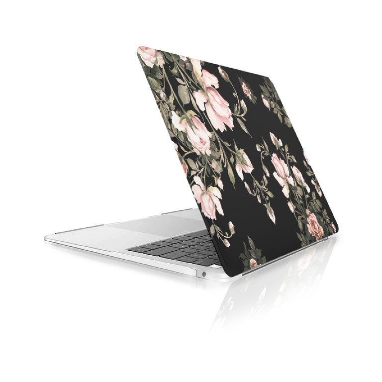 TOP CASE - Floral Pattern Victorian Series Rubberized Hard Case Cover Compatible with 2018 Release MacBook Air 13 Inch with Retina Display fits Touch ID Model: A1932 - Black