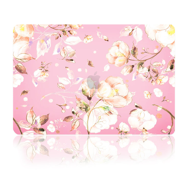 TOP CASE - Floral Pattern Victorian Series Rubberized Hard Case Cover Compatible with 2018 Release MacBook Air 13 Inch with Retina Display fits Touch ID Model: A1932 - Pink