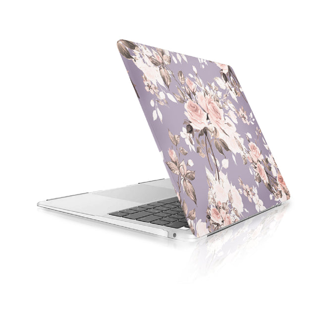 TOP CASE - Floral Pattern Victorian Series Rubberized Hard Case Cover Compatible with 2018 Release MacBook Air 13 Inch with Retina Display fits Touch ID Model: A1932 - Purple