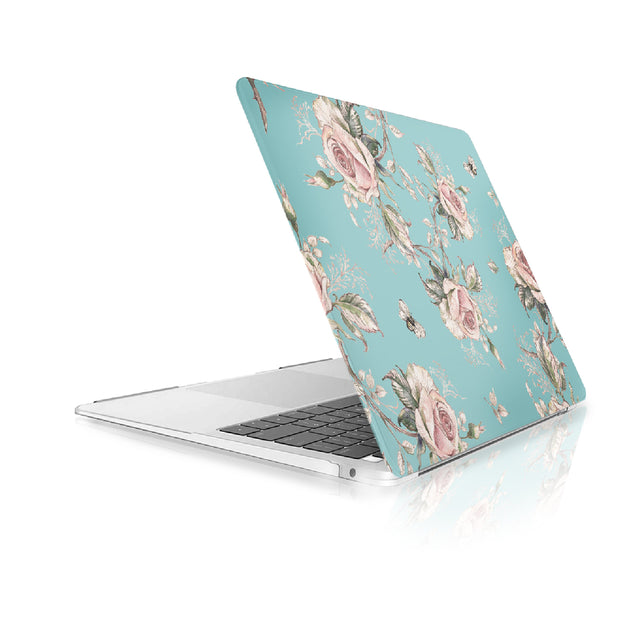 TOP CASE - Floral Pattern Victorian Series Rubberized Hard Case Cover Compatible with 2018 Release MacBook Air 13 Inch with Retina Display fits Touch ID Model: A1932 - Hot Blue