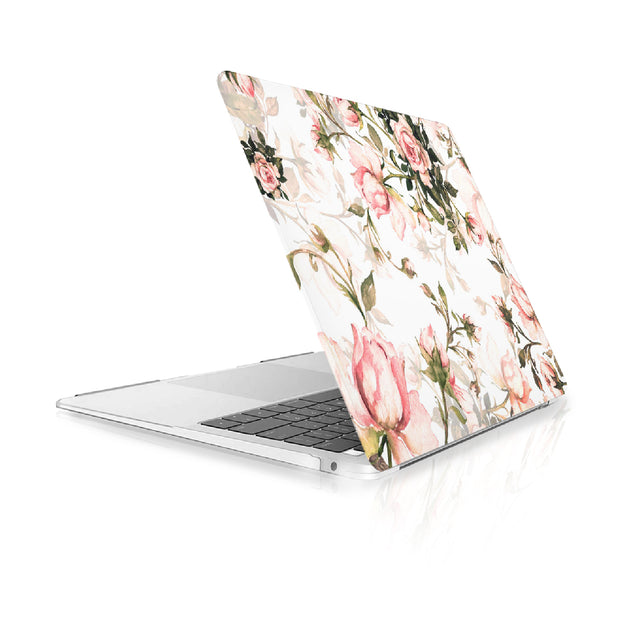 TOP CASE - Floral Pattern Victorian Series Rubberized Hard Case Cover Compatible with 2018 Release MacBook Air 13 Inch with Retina Display fits Touch ID Model: A1932 - White