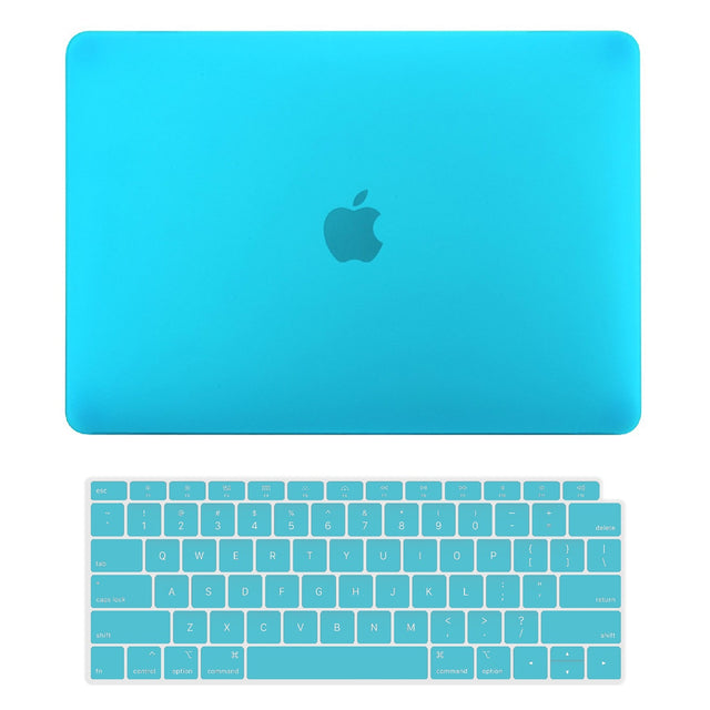 TOP CASE - 2 in 1 Rubberized Hard Case + Keyboard Cover Compatible with 2018 Release Apple MacBook Air 13 Inch with Retina Display fits Touch ID Model: A1932 - Aqua Blue