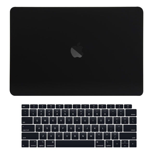 TOP CASE - 2 in 1 Rubberized Hard Case + Keyboard Cover Compatible with 2018 Release Apple MacBook Air 13 Inch with Retina Display fits Touch ID Model: A1932 - Black