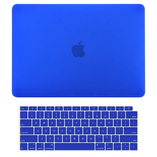 TOP CASE - 2 in 1 Rubberized Hard Case + Keyboard Cover Compatible with 2018 Release Apple MacBook Air 13 Inch with Retina Display fits Touch ID Model: A1932 - Royal Blue