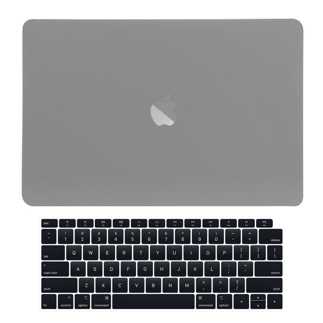 TOP CASE - 2 in 1 Rubberized Hard Case + Keyboard Cover Compatible with 2018 Release Apple MacBook Air 13 Inch with Retina Display fits Touch ID Model: A1932 - Gray