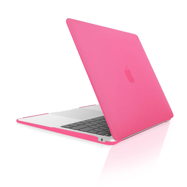 TOP CASE - Rubberized Hard Case Cover Compatible with 2018 Release Apple MacBook Air 13 Inch with Retina Display fits Touch ID Model: A1932 - Hot Pink