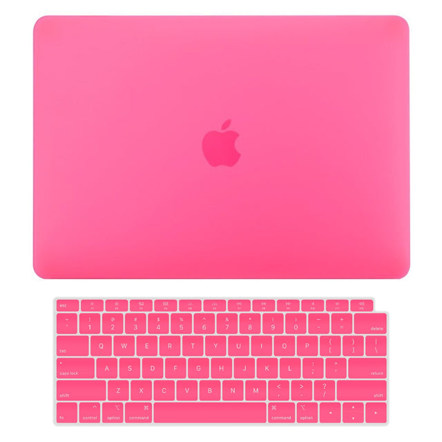TOP CASE - 2 in 1 Rubberized Hard Case + Keyboard Cover Compatible with 2018 Release Apple MacBook Air 13 Inch with Retina Display fits Touch ID Model: A1932 - Hot Pink