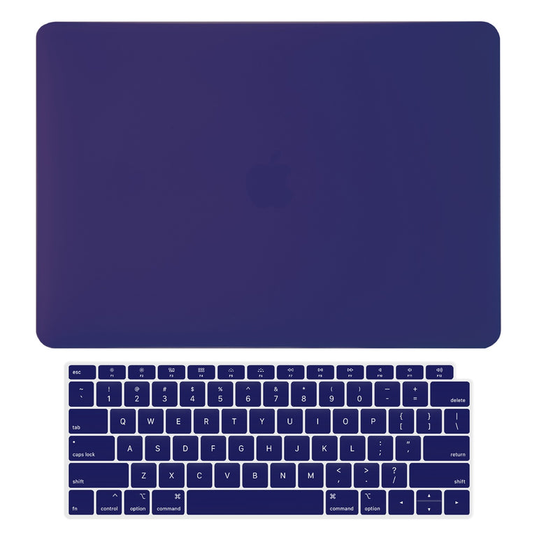 TOP CASE - 2 in 1 Rubberized Hard Case + Keyboard Cover Compatible with 2018 Release Apple MacBook Air 13 Inch with Retina Display fits Touch ID Model: A1932 - Navy Blue