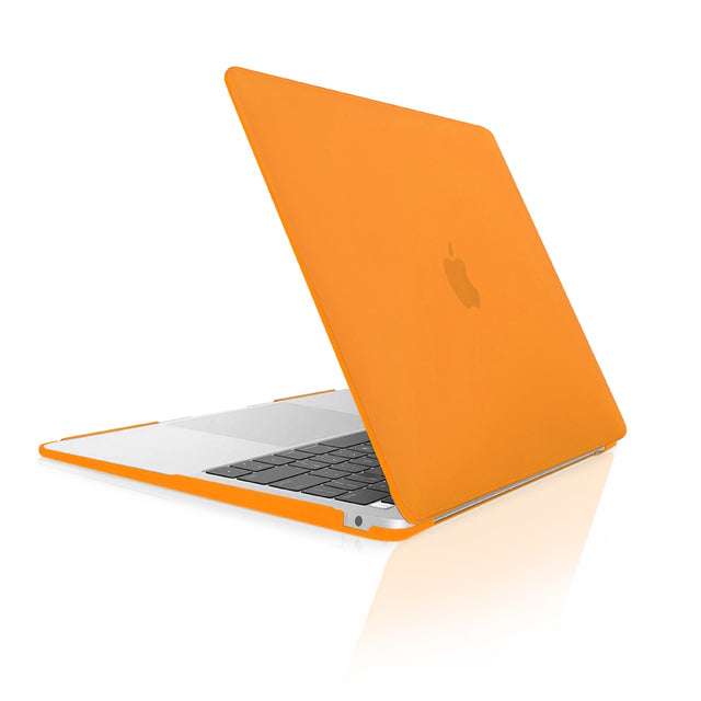 TOP CASE - Rubberized Hard Case Cover Compatible with 2018 Release Apple MacBook Air 13 Inch with Retina Display fits Touch ID Model: A1932 - Orange