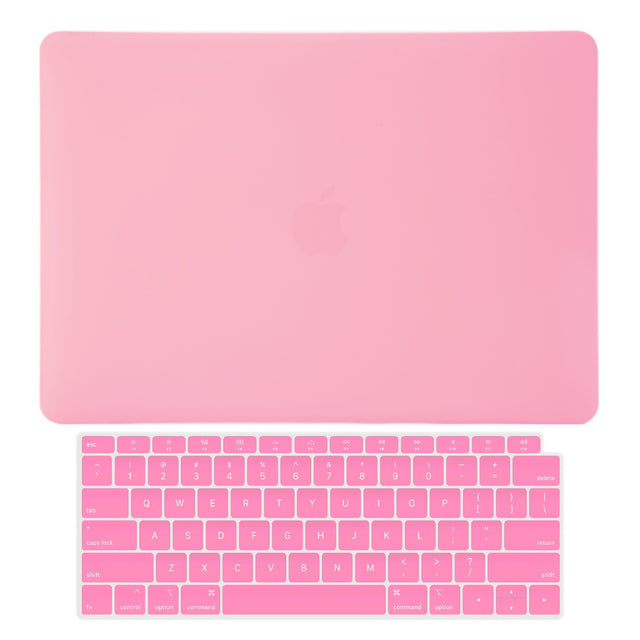 TOP CASE - 2 in 1 Rubberized Hard Case + Keyboard Cover Compatible with 2018 Release Apple MacBook Air 13 Inch with Retina Display fits Touch ID Model: A1932 - Pink