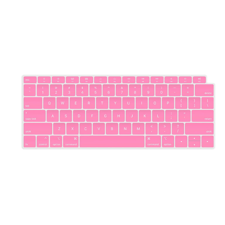 TOP CASE - Ultra Thin Silicone Keyboard Cover Skin Compatible with 2018 Release MacBook Air 13 Inch with Retina Display fits Touch ID Model: A1932 - Pink