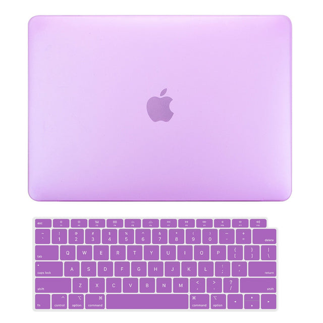 TOP CASE - 2 in 1 Rubberized Hard Case + Keyboard Cover Compatible with 2018 Release Apple MacBook Air 13 Inch with Retina Display fits Touch ID Model: A1932 - Purple