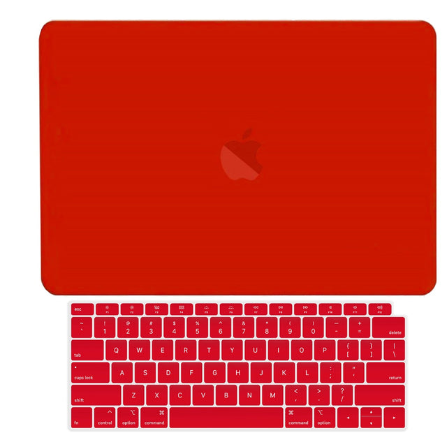 TOP CASE - 2 in 1 Rubberized Hard Case + Keyboard Cover Compatible with 2018 Release Apple MacBook Air 13 Inch with Retina Display fits Touch ID Model: A1932 - Red