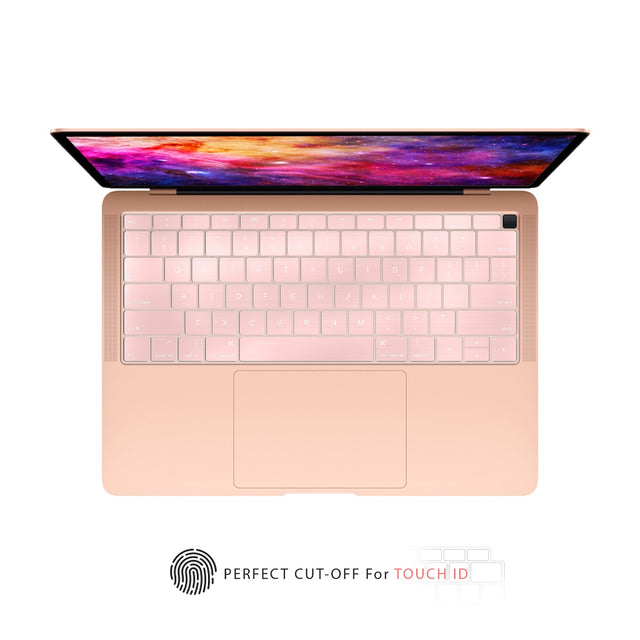 TOP CASE - Ultra Thin Silicone Keyboard Cover Skin Compatible with 2018 Release MacBook Air 13 Inch with Retina Display fits Touch ID Model: A1932 - Rose Gold