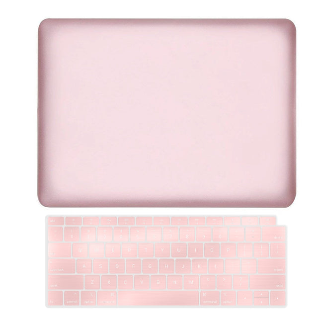 TOP CASE - 2 in 1 Rubberized Hard Case + Keyboard Cover Compatible with 2018 Release Apple MacBook Air 13 Inch with Retina Display fits Touch ID Model: A1932 - Rose Gold