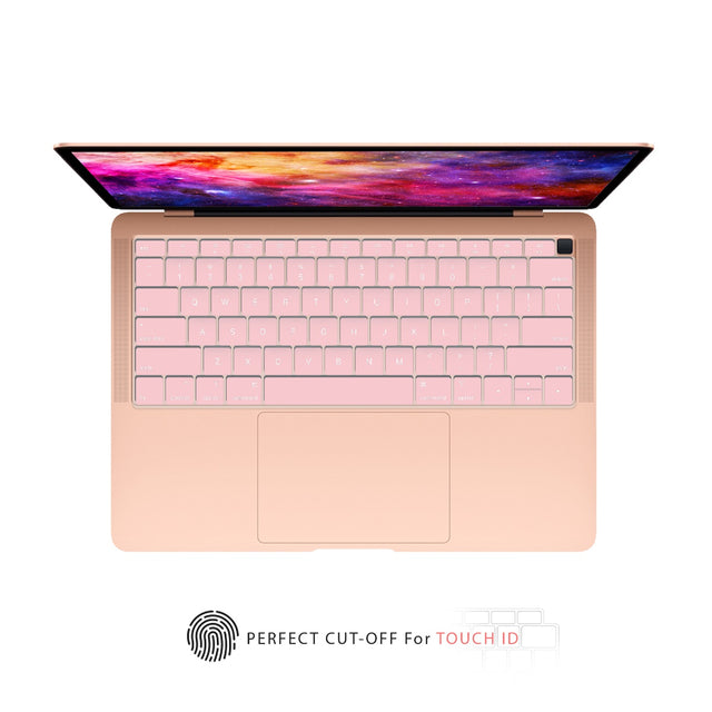 TOP CASE - Ultra Thin Silicone Keyboard Cover Skin Compatible with 2018 Release MacBook Air 13 Inch with Retina Display fits Touch ID Model: A1932 - Rose Quartz