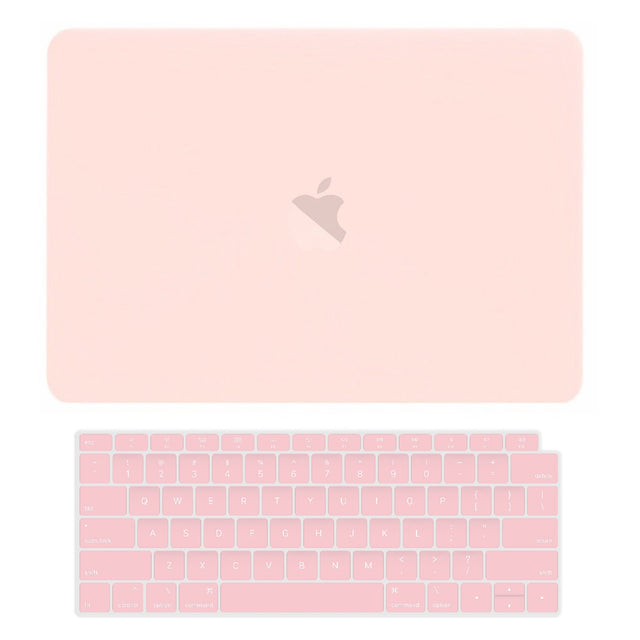 TOP CASE - 2 in 1 Rubberized Hard Case + Keyboard Cover Compatible with 2018 Release Apple MacBook Air 13 Inch with Retina Display fits Touch ID Model: A1932 - Rose Quartz