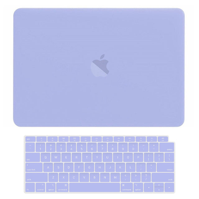 TOP CASE - 2 in 1 Rubberized Hard Case + Keyboard Cover Compatible with 2018 Release Apple MacBook Air 13 Inch with Retina Display fits Touch ID Model: A1932 - Serenity Blue