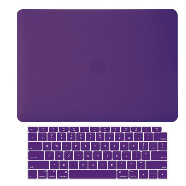 TOP CASE - 2 in 1 Rubberized Hard Case + Keyboard Cover Compatible with 2018 Release Apple MacBook Air 13 Inch with Retina Display fits Touch ID Model: A1932 - Ultraviolet