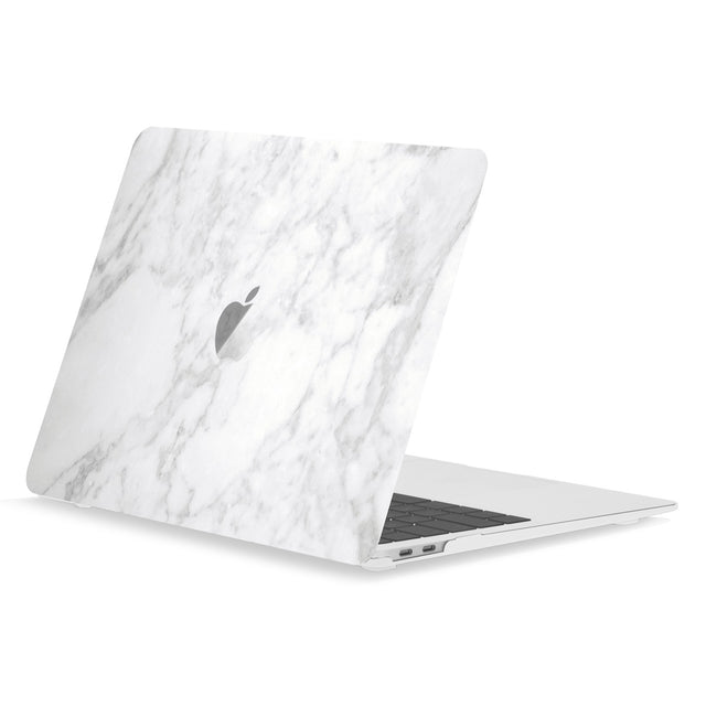 TOP CASE - Marble Pattern Rubberized Hard Case Cover Compatible with 2018 Release MacBook Air 13 Inch with Retina Display fits Touch ID Model: A1932 - Marble Black