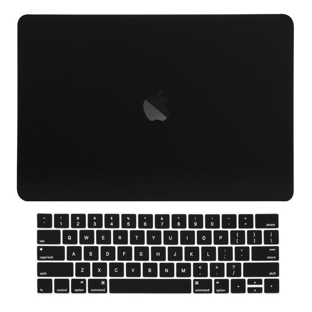 Macbook Pro 13 WITH Touch Bar (2016/17/18 Release) 2 in 1 Bundle, Rubberized Matte Hard Case Cover + Matching Color Keyboard Cover for MacBook Pro 13-inch A1706/A1989 with Touch Bar - Black