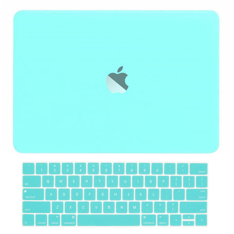 Macbook Pro 13 WITH Touch Bar (2016 Release) 2 in 1 Bundle, Rubberized Matte Hard Case + Matching Color Keyboard Cover for MacBook Pro 13-inch A1706 with Touch Bar - Hot Blue / Turquoise